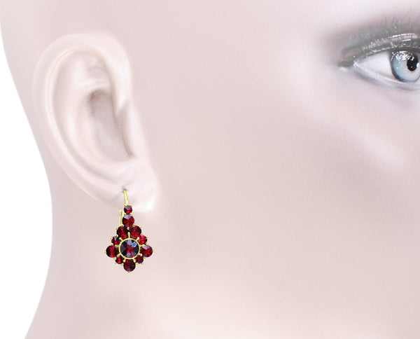 Victorian Bohemian Garnet Earrings in 14 Karat Yellow Gold and Sterling Silver Vermeil - Item: E144 - Image: 2