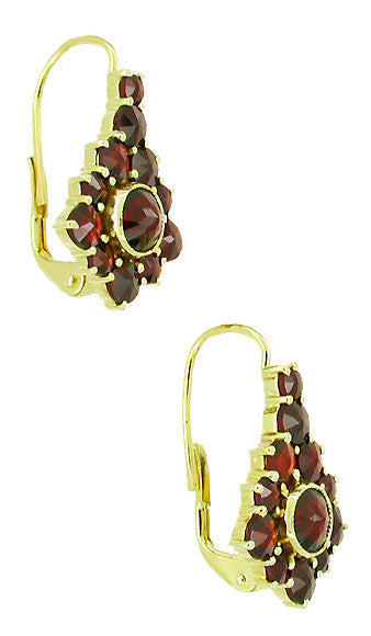 Victorian Bohemian Garnet Earrings in 14 Karat Yellow Gold and Sterling Silver Vermeil - Item: E144 - Image: 1