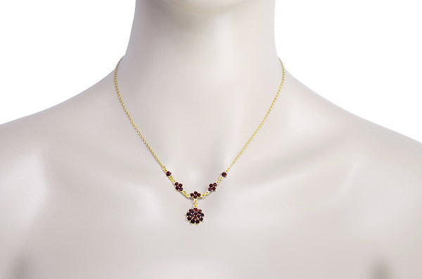 Gorgeous Victorian Bohemian Garnet Floral Drop Necklace in Sterling Silver with Yellow Gold Vermeil - Item: N111 - Image: 2