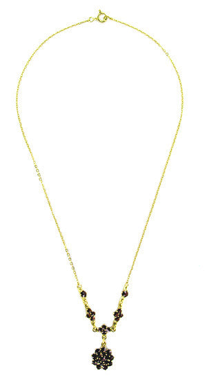 Gorgeous Victorian Bohemian Garnet Floral Drop Necklace in Sterling Silver with Yellow Gold Vermeil - Item: N111 - Image: 1