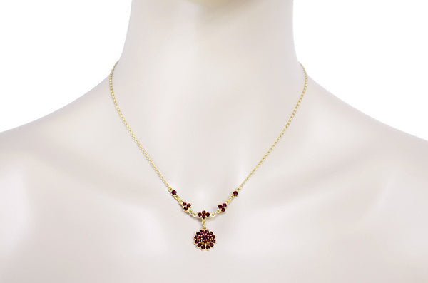 Victorian Bohemian Garnet Floral Drop Necklace in Sterling Silver and Yellow Gold Vermeil - Item: NBG123 - Image: 2