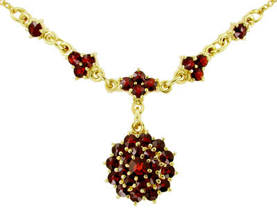 Victorian Bohemian Garnet Floral Drop Necklace in Sterling Silver and Yellow Gold Vermeil