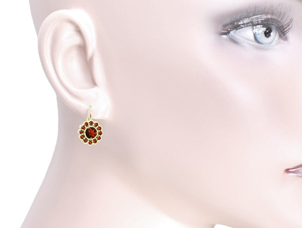 Victorian Bohemian Garnet Floral Earrings in 14 Karat Gold and Sterling Silver Vermeil - Item: E142 - Image: 2