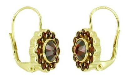 Victorian Bohemian Garnet Floral Earrings in 14 Karat Gold and Sterling Silver Vermeil - Item: E142 - Image: 1