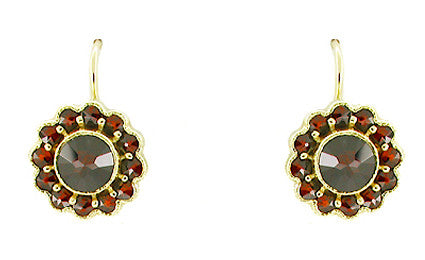 Victorian Bohemian Garnet Floral Earrings in 14 Karat Gold and Sterling Silver Vermeil