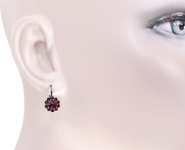 Victorian Bohemian Garnet Floral Earrings in Antiqued Sterling Silver with 14 Karat Gold Earwires - Item: E148 - Image: 2