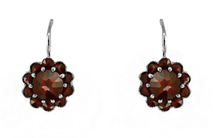 Victorian Bohemian Garnet Floral Earrings in Antiqued Sterling Silver with 14 Karat Gold Earwires