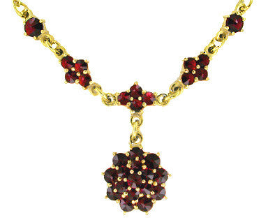 Gorgeous Victorian Bohemian Garnet Floral Drop Necklace in Sterling Silver with Yellow Gold Vermeil