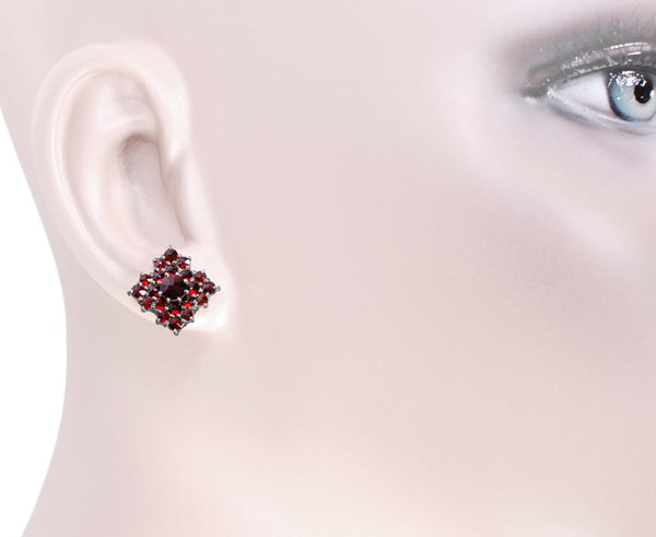 Victorian Bohemian Garnet Galaxy Stud Earrings in 14 Karat Gold and Antiqued Sterling Silver - Item: E143 - Image: 2