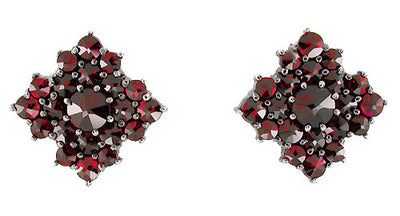 Victorian Bohemian Garnet Galaxy Stud Earrings in 14 Karat Gold and Antiqued Sterling Silver
