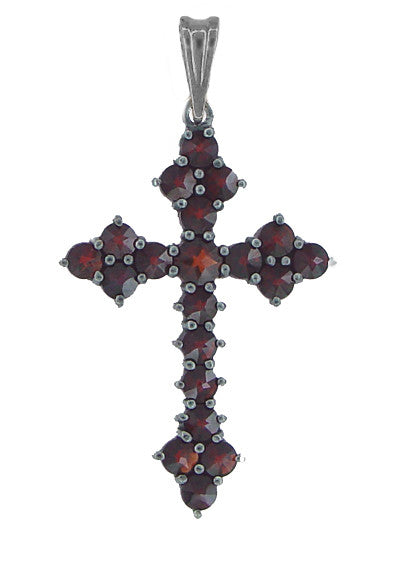 Victorian Bohemian Garnet Gothic Cross Pendant in Antiqued Sterling Silver