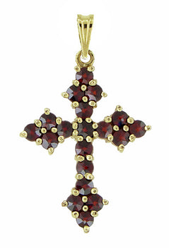 Victorian Bohemian Garnet Small Gothic Cross Pendant in Sterling Silver and Yellow Gold Vermeil