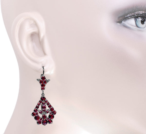 Victorian Bohemian Garnet Leaf Drop Earrings in Antiqued Sterling Silver - Item: E139 - Image: 2