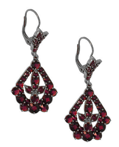 Victorian Bohemian Garnet Leaf Drop Earrings in Antiqued Sterling Silver - Item: E139 - Image: 1