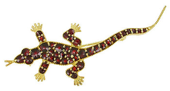 Victorian Bohemian Garnet Lizard Brooch in Sterling Silver with Yellow Gold Vermeil
