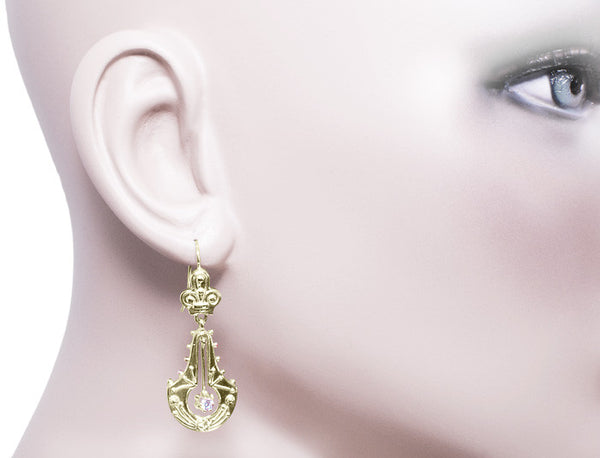 Victorian Diamond Double Dangle Drop Earrings in 14 Karat Yellow Gold - Item: E124 - Image: 1