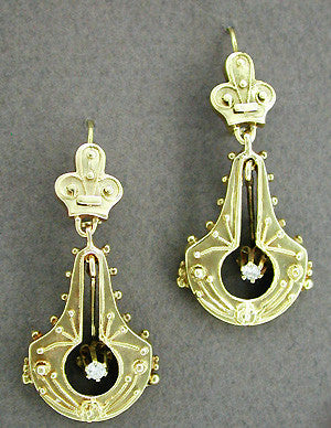 Victorian Diamond Double Dangle Drop Earrings in 14K Yellow Gold