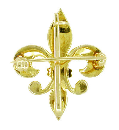 Antique Victorian Fleur de Lis Brooch and Watch Pin in 10 Karat Gold - Item: BR132 - Image: 1