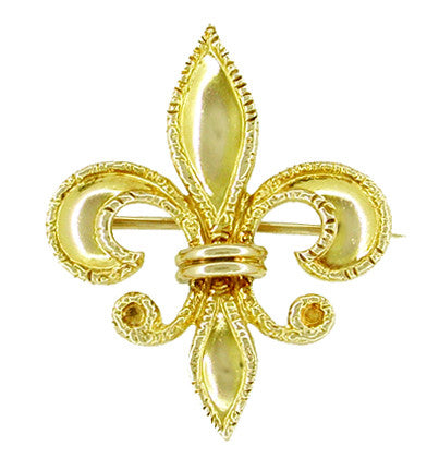 Antique Victorian Fleur de Lis Brooch and Watch Pin in 10 Karat Gold