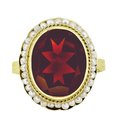 Victorian Oval Almandine Red Garnet and Seed Pearl Ring in 14 Karat Yellow Gold