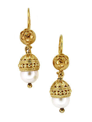 Etruscan Revival Victorian Pearl Drop Dangle Earrings in 15 Karat Gold