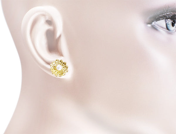 Victorian Sunflower Pearl Stud Earrings in 14 Karat Yellow Gold - Item: E121 - Image: 1