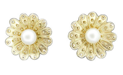 Victorian Sunflower Pearl Stud Earrings in 14 Karat Yellow Gold