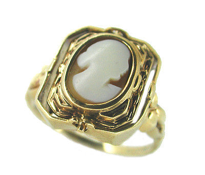Victorian Shell Cameo and Onyx Antique Flip Ring in 10 Karat Gold