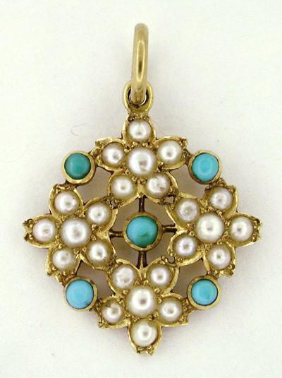 Victorian Turquoise and Pearl Floral Antique Pendant in 18 Karat Gold