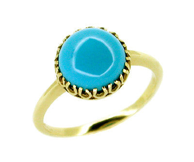 Antique Victorian Turquoise Ring in 10 Karat Gold