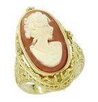 Filigree Edwardian Flip Ring with Carnelian Shell Cameo and Black Onyx in 14 Karat Gold