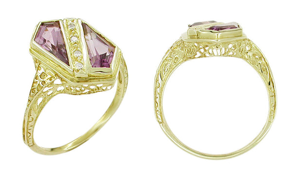 Art Deco Amethyst and Diamond Shield Filigree Ring in 14 Karat Yellow Gold - Item: VR343A - Image: 1