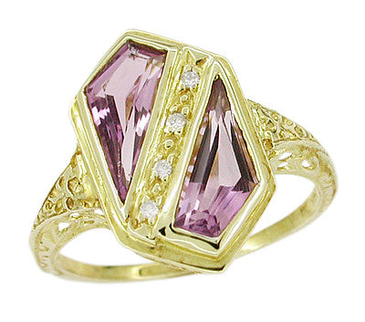 Art Deco Amethyst and Diamond Shield Filigree Ring in 14 Karat Yellow Gold