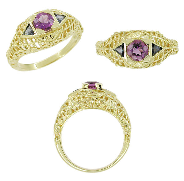 Art Deco Amethyst and Triangle Blue Sapphire Filigree Ring in 14 Karat Yellow Gold - Item: VR754 - Image: 1