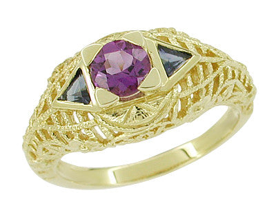 Art Deco Amethyst and Triangle Blue Sapphire Filigree Ring in 14 Karat Yellow Gold