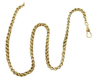Antique Pocket Watch Chain in Solid 14 Karat Gold - 14.5 Inches