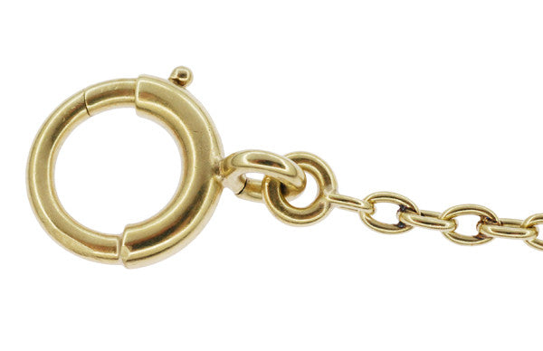 Engraved Link Antique Pocket Watch Chain in 14 Karat Yellow Gold - 14.5 Inches - Circa 1920's - Item: WC108 - Image: 2
