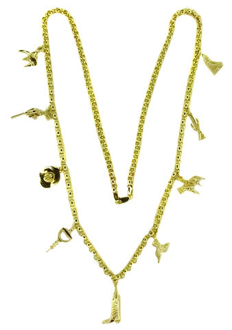 Western Theme Estate Charm Necklace in 14 Karat Gold