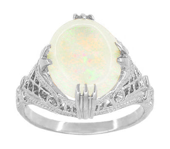 Art Deco White Opal Filigree Ring in 14 Karat White Gold