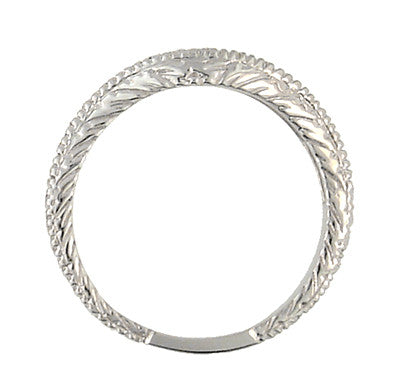 Curved Engraved Wheat Art Deco Diamond Wedding Band in Platinum - Item: WR1139P - Image: 3