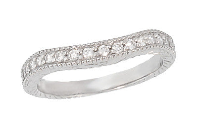 Curved Engraved Wheat Art Deco Diamond Wedding Band in Platinum