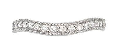 Art Deco Curved Carved Wheat Diamond Wedding Band in 14 Karat White Gold - Item: WR1139W14 - Image: 1