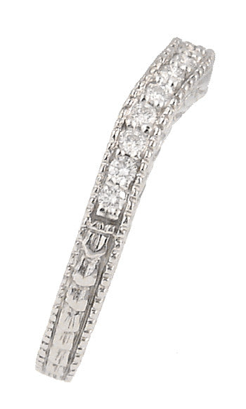 Curved Wheat Diamond Set Art Deco Wedding Band in 18 Karat White Gold - Item: WR1139W18 - Image: 2