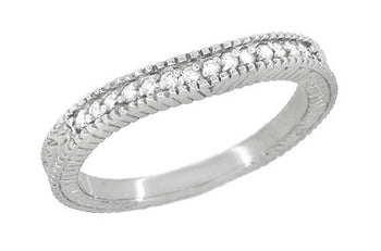 Art Deco Curved Wheat Diamond Wedding Band in Platinum