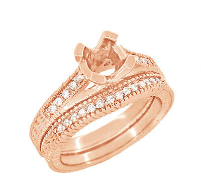 Art Deco Curved Wheat Diamond Wedding Band in 14 Karat Rose Gold - Item: WR1153R - Image: 5