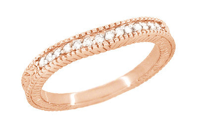 Art Deco Curved Wheat Diamond Wedding Band in 14 Karat Rose Gold