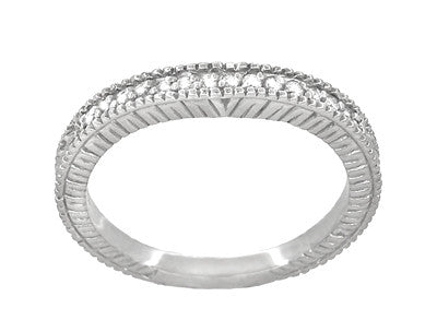 Art Deco Carved Wheat and Diamonds Curved Wedding Band in 18K White Gold - Item: WR1153W - Image: 2