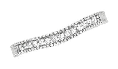 Art Deco Carved Wheat and Diamonds Curved Wedding Band in 18K White Gold - Item: WR1153W - Image: 3