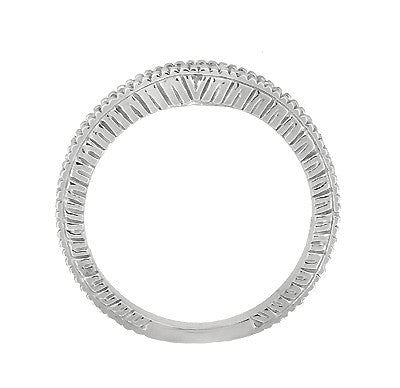 Art Deco Carved Wheat and Diamonds Curved Wedding Band in 18K White Gold - Item: WR1153W - Image: 4