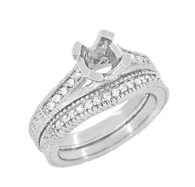 Art Deco Carved Wheat and Diamonds Curved Wedding Band in 18K White Gold - Item: WR1153W - Image: 5